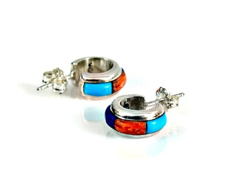 Earrings Sterling Silver Turquoise Lapis Carnelian Stones Inlay Huggie Post Minimal Ear Studs