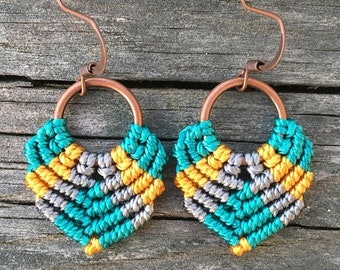 SALE Micro-Macrame Dangle Earrings - Teal, Gold and Gray