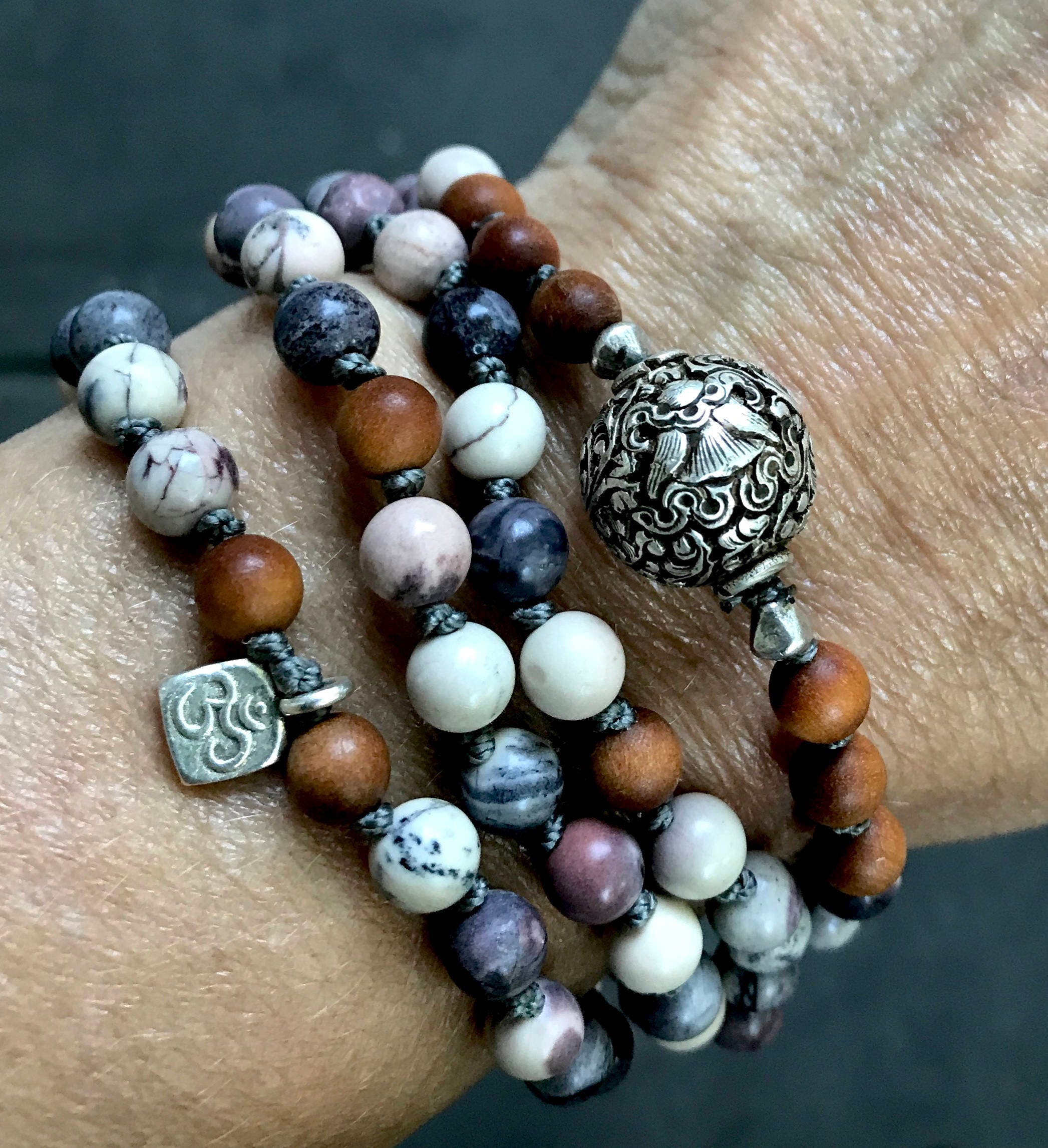 Mala for protection 8 auspicious symbol the parasol symbol mala for protection 8 auspicious symbol the parasol symbol porcelain jasper sandalwood mala beads gift with meaning yoga gift biocorpaavc Gallery