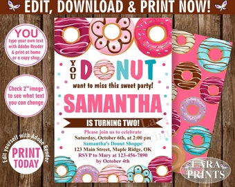 INSTANT DOWNLOAD / edit yourself now / Birthday / invite/ Invitation / Donut / Party / doughnut / girl / pink / purple teal / BDonut1