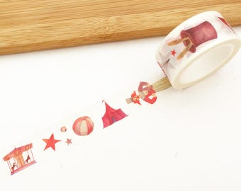 20mm Circus Washi Tape (1 pc) Japanese Stationery Cute Masking Tape Set Deco Tape