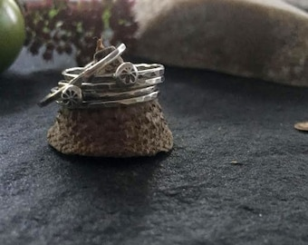 in flowers wind and rain - sterling silver ring stack of 5