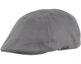 RUSTY - Men's Duckbill Flat Cap made of Pure Emerizing Cotton (peach skin effect) -ash gray
