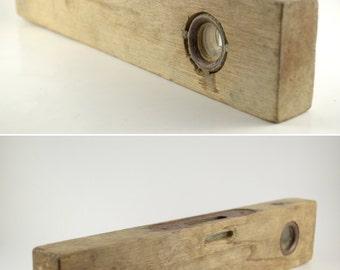 Vintage Wood Level, Wooden Spirit Level, Primitive Wooden Level Tool, Rustic Carpenters Tool, Wooden Tool, Rustic Decorative Tool
