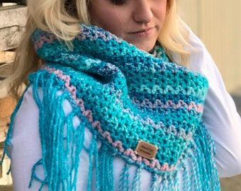 Blue Cowl with Fringes