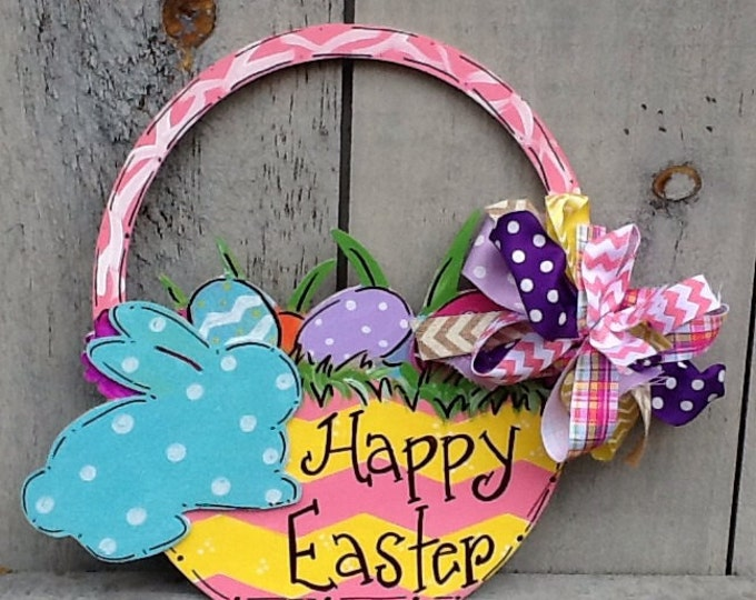Easter bunny door hanger, easter door hanger, easter basket door hanger, spring door hanger