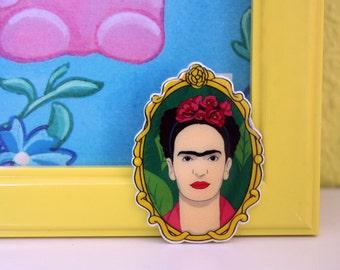 Frida Kahlo Brooch, Shrink Plastic Brooch