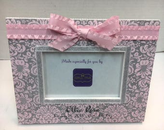 Baby Girl Damask Pink and Gray Personalized Birth Announcement Keepsake Frame