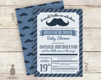 Vintage Inspired Mustache Bash Little Man Baby Shower Invitations