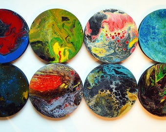 Large wall art / Pour painting /  Original Artwork Abstract Paintings Wood Sculpture Modern Colorful / Circles Contemporary / multicolor