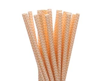 Paper Straws, Peach Chevron Paper Straws, Spring Wedding Paper Goods, Engagement Party Straw, Boho Chic Tea Party Straw, Georgia Peach Party