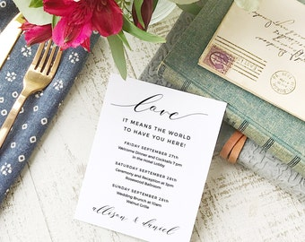 Wedding Agenda Card, Printable Wedding Timeline Letter, Events Card, Modern Calligraphy, Itinerary, Agenda, Hotel Card - INSTANT DOWNLOAD