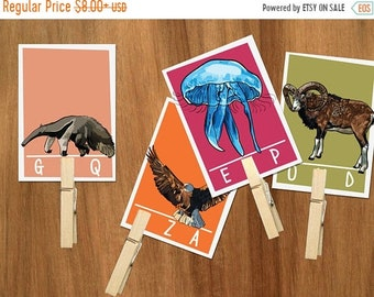 Animal Alphabet beginning letter sound clip cards -Preschool ABC flash cards,Beginning letters,Summer activities,busy bag,early learning