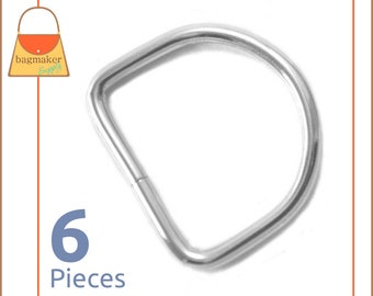 "1-1/4 Inch D Rings, Nickel Finish, 6 Pieces, Handbag Purse Bag Making Hardware Supplies, 1-1/4"", 1.25 Inch, 1.25"", RNG-AA086"
