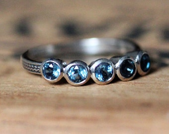 Five stone ring, anniversary band, 5 stone ring, London blue topaz ring, gemstone sterling silver ring, unique anniversary gifts, size 7