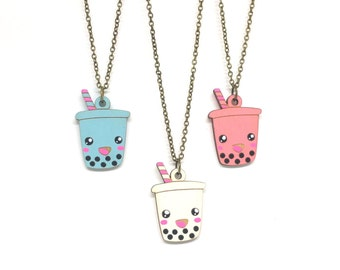 Cute Boba Necklace - Handmade - laser cut - laser cut jewelry