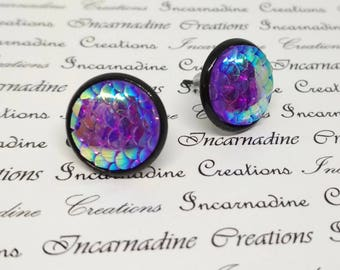 Purple iridescent mermaid dragon scale post stud earrings