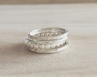 Pebble + Shimmer Stacker Set of 4 Rings, stacking rings, sterling stacker, pebble stacker, stacking ring set, ring set, sterling silver