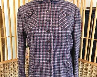 Vintage 40s Plaid Wool Jacket with Peter Pan Collar from Post and Rail Boutique of Santa Barbara