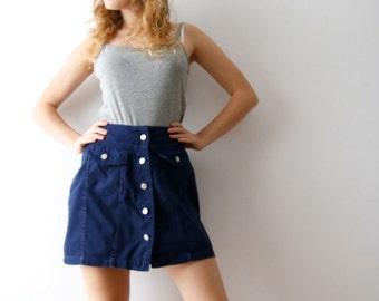Vintage Large Size Mini Skirt Mini Denim Skirt Blue Mini Skirt Button Up Skirt High Waist Skirt 90's Grunge Skirt Large Size Skirt
