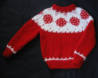 Hand Knit Red and White Yoke/Ski Sweater with Snowflake/Winter Design