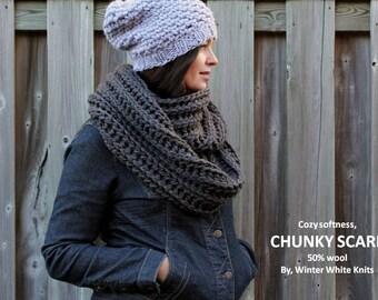 Chunky knit scarf, dark grey knit scarf, knit winter scarf, soft and cozy scarf, chunky knit infinity scarf, knit cowl, cowl scarf