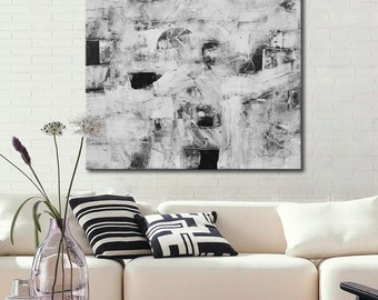 Black and white Abstract Painting, Large Black&White, Original wall art, Textural square art, gray painting, white painting, square art