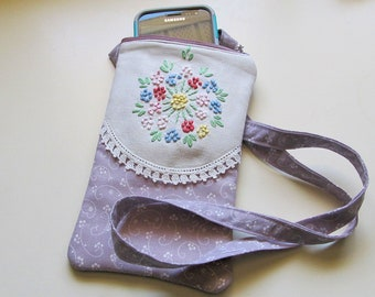 Vintage Looking Cellphone Pouch, Purple Smartphone Pouch with zipper, Fabric Mobile Phone Purse, Neck Purse for Phone, Walking pouch, Gad73