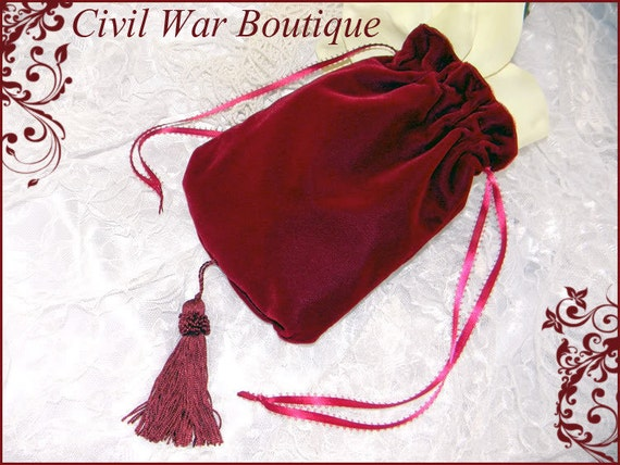 Vintage & Retro Handbags, Purses, Wallets, Bags Civil War / Victorian Burgundy Maroon Velvet RETICULE / PURSE NEWCivil War / Victorian Burgundy Maroon Velvet RETICULE / PURSE NEW  AT vintagedancer.com