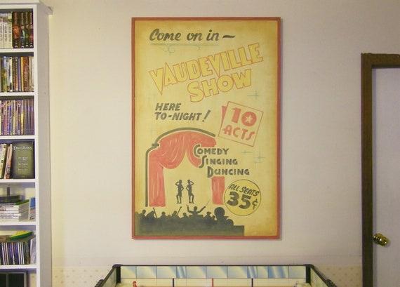 Home Theater Room Decor Vaudeville Show Retro Vintage Sign
