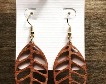 Wood Leaf Earrings - Wood Dangle Earrings - Lightweight Jewelry - Christmas Gift - Stocking Stuffer for Her - Wooden Drop Earring
