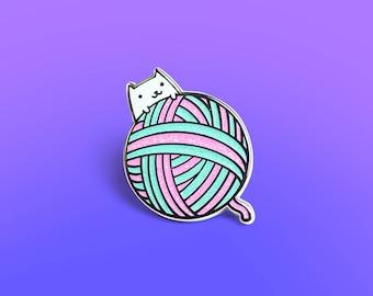 Yarnball Cat Enamel Pin, Kitty Enamel Pin, Knitting, Cute Enamel Pin, Kawaii Enamel Pin, cute pin, fashion accessory, cat pin - Mint Edition