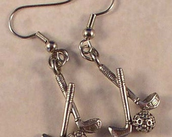 Pewter crossed golf club earrings on surgical steel french wires.