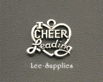 10pcs Antique Silver Alloy Cheerleadering Love To Cheer Charms Pendant A1304