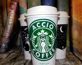 Personalized Starbucks Cup • ACCIO Coffee • Custom Starbucks Cup • Custom Travel Tumbler (Genuine, Reusable) [potter quality gift idea]