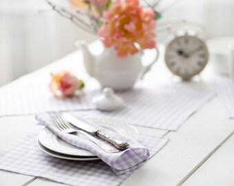 Lilac linen napkins set of 6 - Lavender napkin cloths - Easter tartan napkins  - Easter table top - Easter napkins