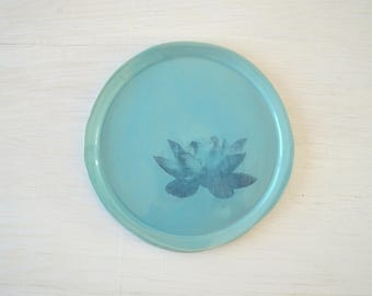 Serving Dish,Colorful Plate, Pottery Plates,Dessert Plate, Lotus Plate
