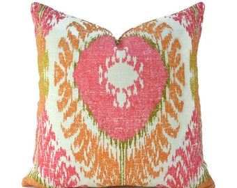 Pillow Covers ANY SIZE Decorative Pillow Cover Orange Pillow Ikat Pillow Richloom Chimayo Coral Reef