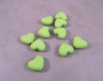 20 beads green frosted matte 12 mm x 11 mm