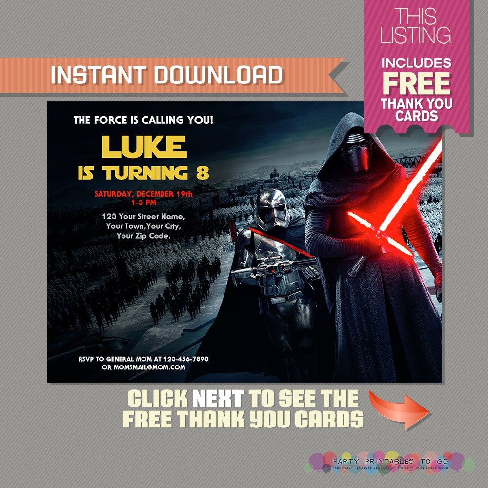 Star Wars The Force Awakens Party Printable Invitation with