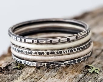 Stackable Rings. Set of 5 Rings. Stacking Rings. Thumb Rings. Recycled Sterling Silver. Textured Ring. Hammered Rings. Recycled Silver.