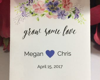 Custom Wedding Seed Favors Wedding Seed Packets Blue Pink Watercolor Floral 50 Wedding Favors Seed Packets Wildflower Seeds