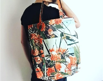 "Reversible Recycled Canvas Tote Bag ""Flowers"""