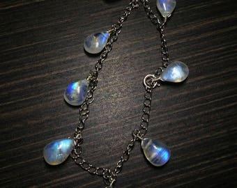 Moonstone Bracelet-Adjustable Charm bracelet-Gemstone bracelet-Silver bracelet-Gifts for Her-June birthstone-wire wrapped natural jewelry