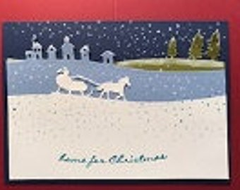 Woods and Snow Sleigh Ride Christmas Greeting Card