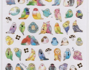 Bird Stickers with Gold Accent Budgie Budgerigar Parakeet Cockatiel Owl Java Sparrow Gouldian Finch etc   Price depends on order volume.