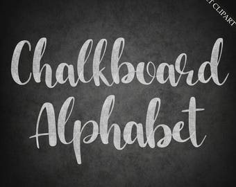 Chalkboard alphabet clipart, digital chalk font clipart, digital alphabet, chalk clipart, upper case, lower case, download