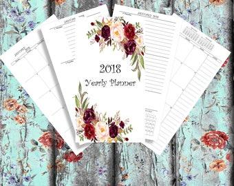 2018 Yearly Planner  Planner bundle personal Printable 2018 Monthly Planner 2018 Weekly Planner 2018 Agenda Printable Planner 2018 calendar