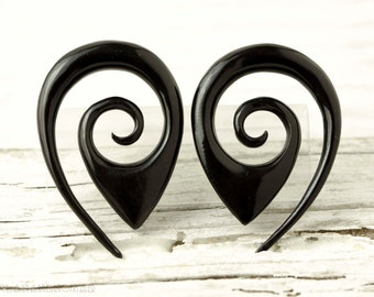 "Oval Drop Gauge Earrings Black Horn Expanders Gauges  16g 14g 12g 10g 8g 6g 4g 2g 0g 00g 1/2""- GA014 H"