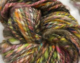 EARTH TROPIC Textured hand spun art yarn w/ coils 45 metre 49 yards 2 ply Weave Knit Crochet 50g